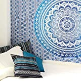 Eyes of India - Small Twin Blue Ombre Mandala Wall Hanging Tapestry Bedspread Beach Blanket Boho Bohemian Indian