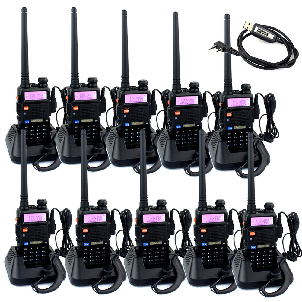 Retevis RT-5R 2 Way Radio 5W 128CH VHF/UHF 136-174/400-520 MHz Walkie Talkie(10 Pack) and Programming Cable by Retevis