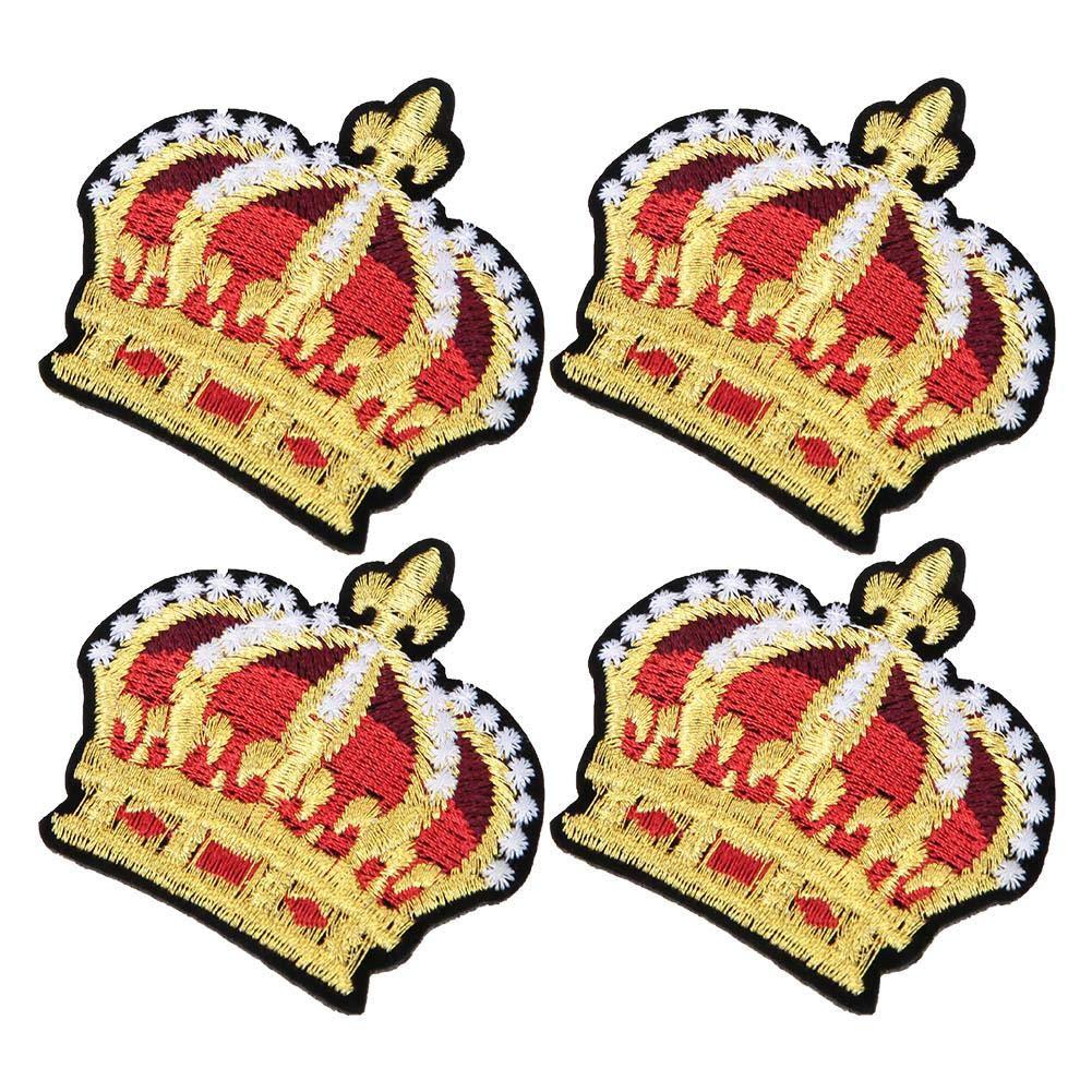 Sheens 4 Piezas patr/ón de Corona de Oro Parche Bordado Adhesivo Apliques Bordados Ropa Coser Etiqueta Accesorios artesanales decoraci/ón de Bricolaje para Hombres Mujeres ni/ños ni/ñas ni/ños