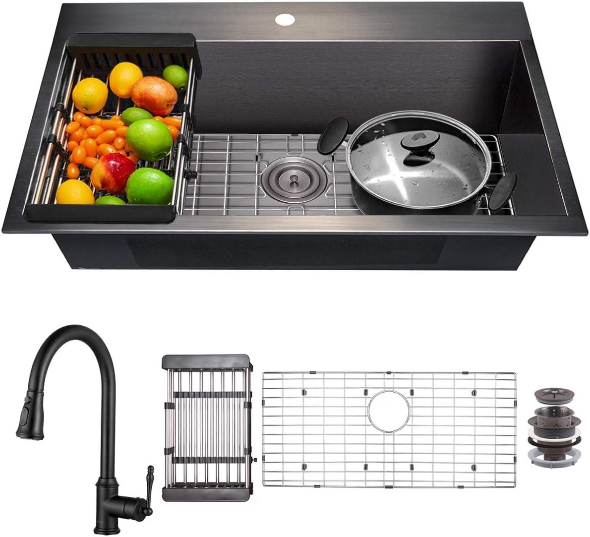 AKDY Matte Black Kitchen Sink and Faucet Combo