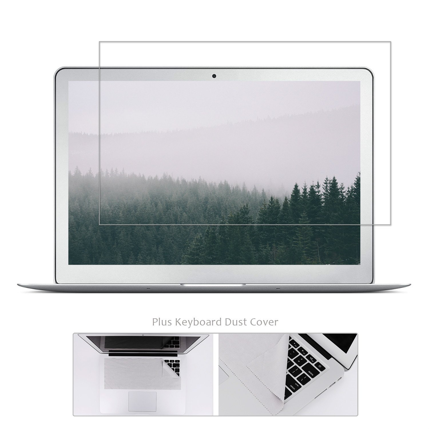 Tempered Glass Screen Protector Compatible MacBook Air 13 Inch Model A1369 A1466 + Large Microfiber Cleaning Cloth, Crystal Clear Anti Scratch and Bubble Free, Lifetime Risk-free Replacement Warranty