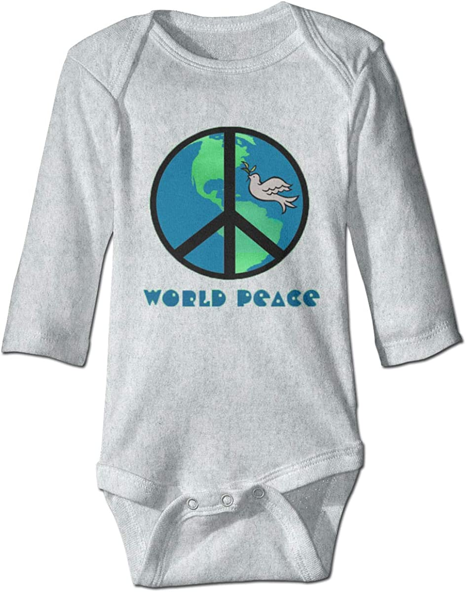 Smooffly Baby Boys Girls World Peace Sign Long-Sleeve Bodysuit One-Piece Playsuits