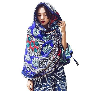 38c8b4b591fd iShine Femme Elégant Echarpe en Coton-Lin avec Impression Style Bohême  Casual Foulard Coloré Foulard