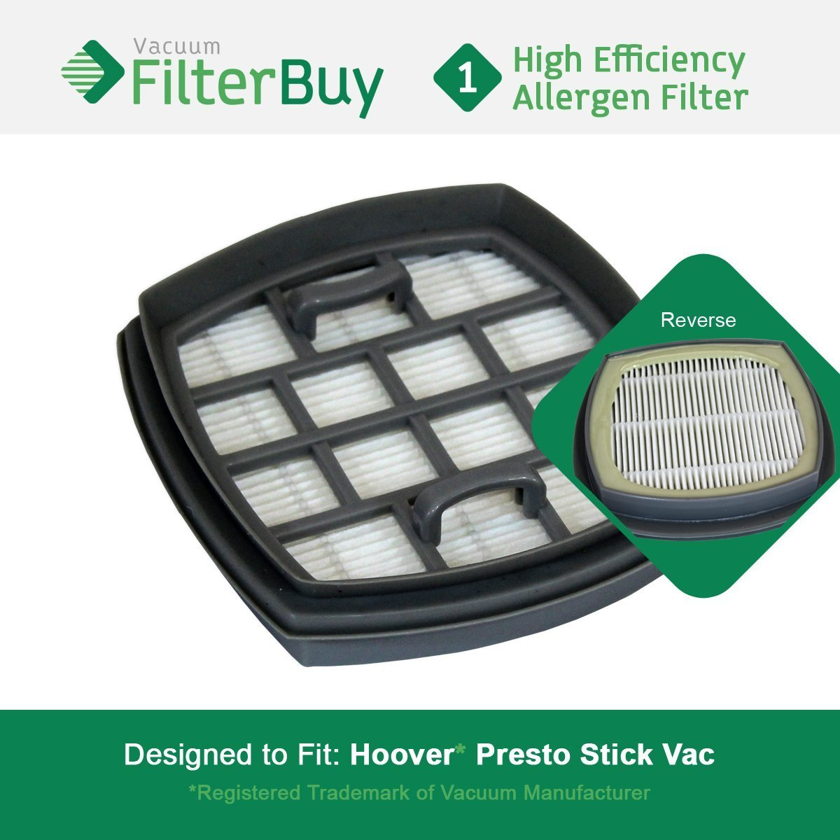 Hoover Presto Stick Vacuum Filter, Part # 440002094. Designed by FilterBuy to replace Hoover Presto 2-in-1 Cordless Stick Vacuum.
