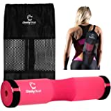 Cheeky Chick Fitness Barbell Squat Pad for Women. Pink Hip Thrust Squat Sponge for Lunge, Booty Gym Workout. Fitness Equipment with Securing Straps and Large Carry Bag. Gym Gift Accessories for Ladies