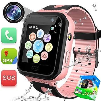 GBD Kids Smartwatch Impermeable GPS Tracker Watch Phone con SOS Call Camera Pantalla Táctil Juego Reloj Inteligente para Niños Chicas Niñas Vacaciones ...