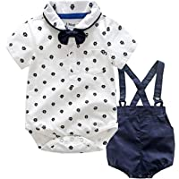 LEHOUR Bebés 2Pcs Trajes de Bautizo Camisa Bowtie Top + Tirantes Shorts Correa, Niños Formales Fiesta Outfit Gentleman…