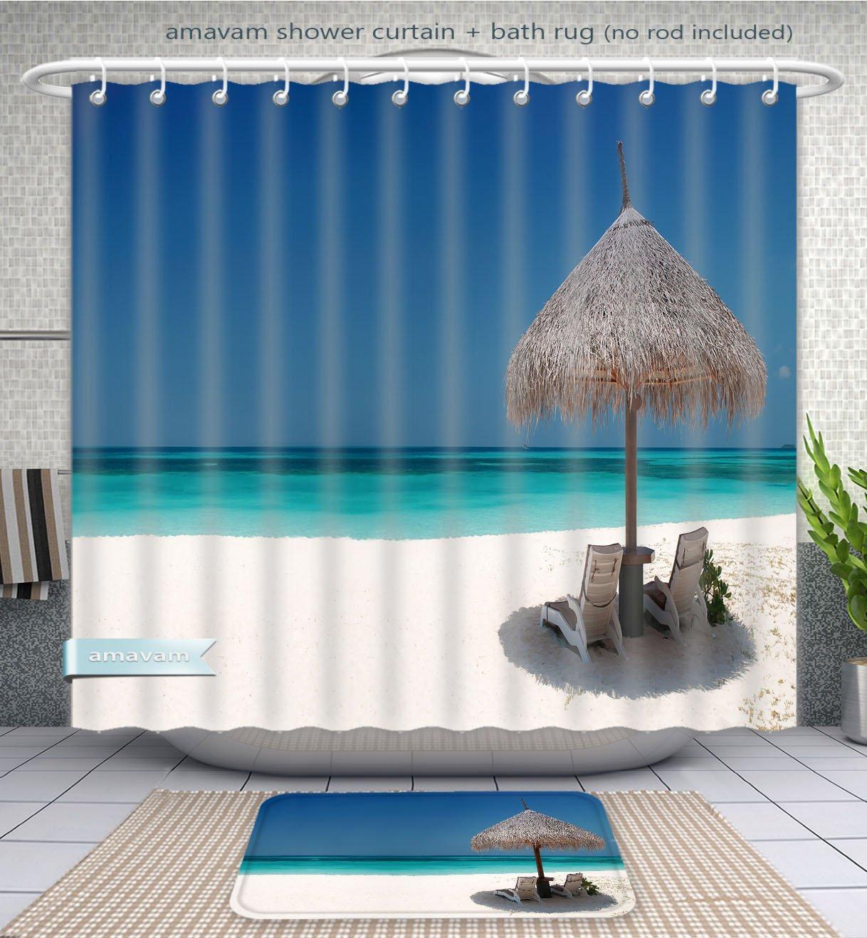 Amavam Bathroom 2-Piece Suit 18X1318-2X400 Shower Curtain And Bath Rug Set, 71''Wx79''H & 31''Wx20''H