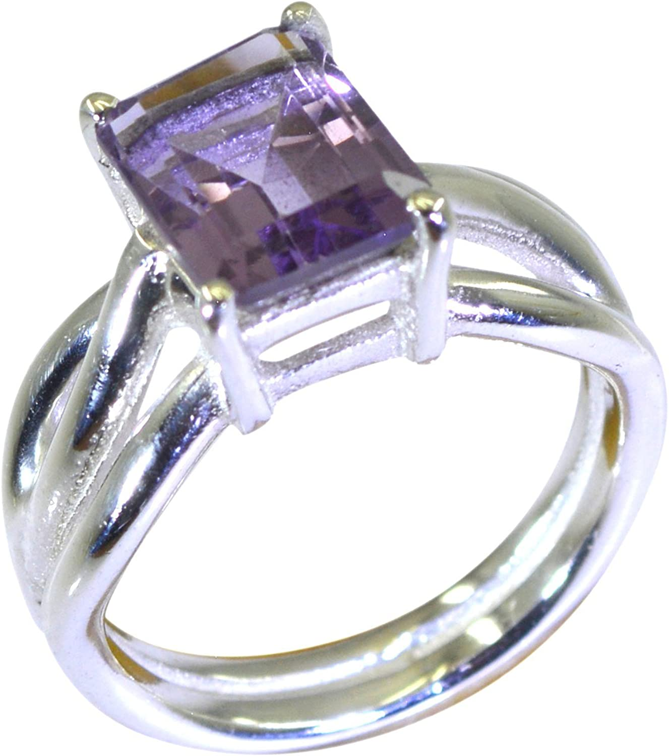 Natural Healing Amethyst Silver Ring For Men February Birthstone Round Shape Size 5,6,7,8,9,10,11,12