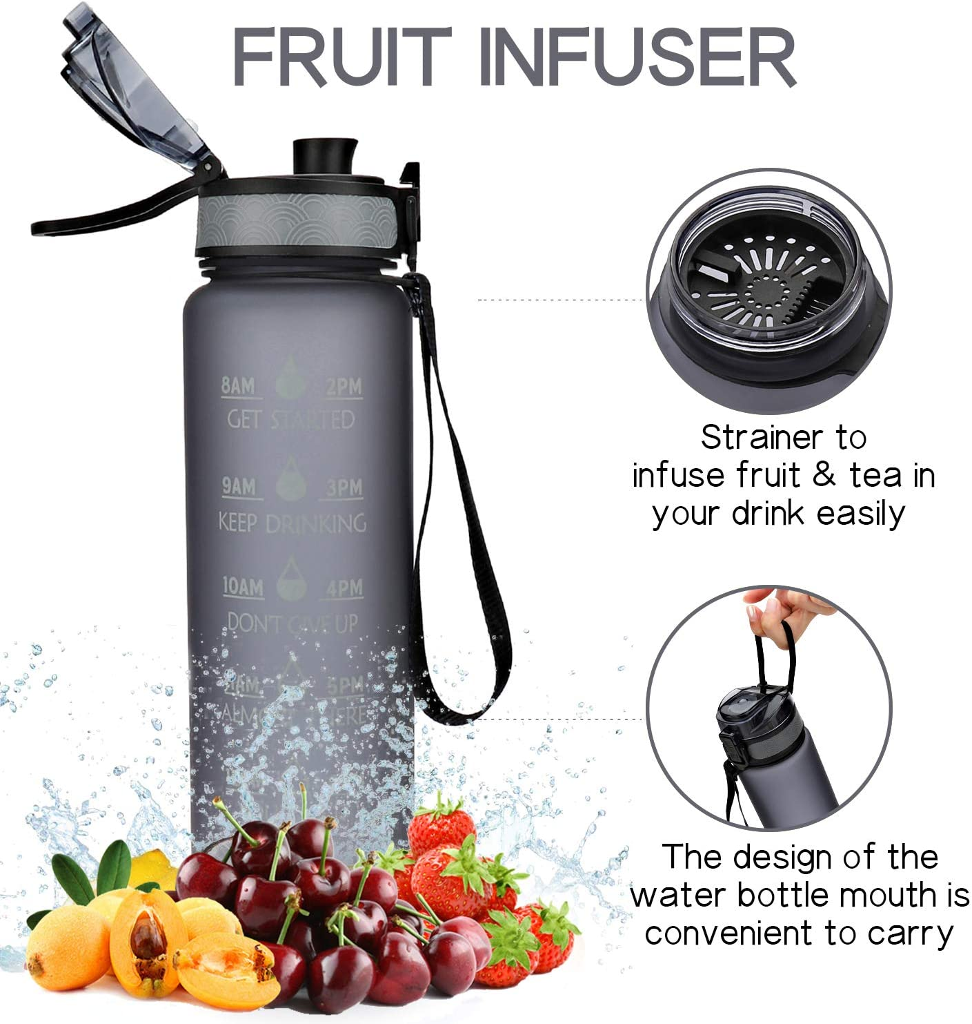 NeBaee 32oz Motivational Water Bottle with Time Marker,Straw Lid,BPA-Free,Leak Proof,Fruit Ice Cube infuser Fitness Gym and Outdoor Activitie White-pink Gradient