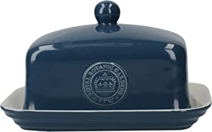 Creative Tops Royal Botanic Gardens Kew Richmond Vintage Style Ceramic Navy Blue Butter Dish with Lid