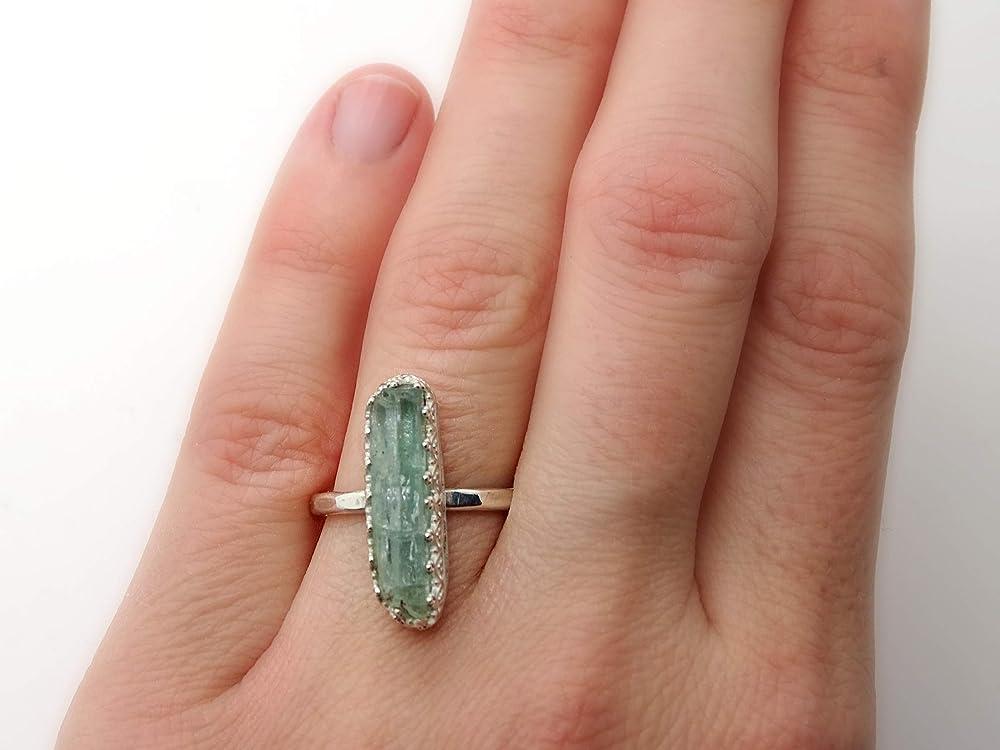 Rough Aquamarine Ring* sterling silver ring*handmade ring*engagement ring*druzy gemstone Ring*boho ring*statement ring*Rough Stone Ring*O199