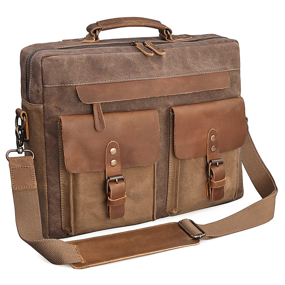 ea15e9da4c NEWHEY Mens Messenger Bag 15.6 Inch Vintage Genuine Leather Briefcase  Waterproof Waxed Canvas Laptop Computer Bag Large Leather Satchel Shoulder  Bag Brown