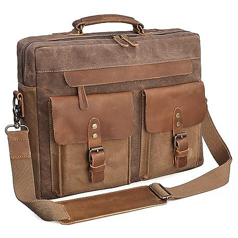 NEWHEY Mens 15.6 Laptop Messenger Bag Water Resistant Shoulder Computer  School Work Bags Canvas Leather Briefcase Vintage Satchel Brown  Amazon.co. uk  ... 0b93f19f406c1