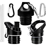 Standard Mouth Straw Lid and Sport Cap 3PC Replacement for Hydro Water Flask 12, 18, 21, 24OZ and Simple Modern Ascent Narrow