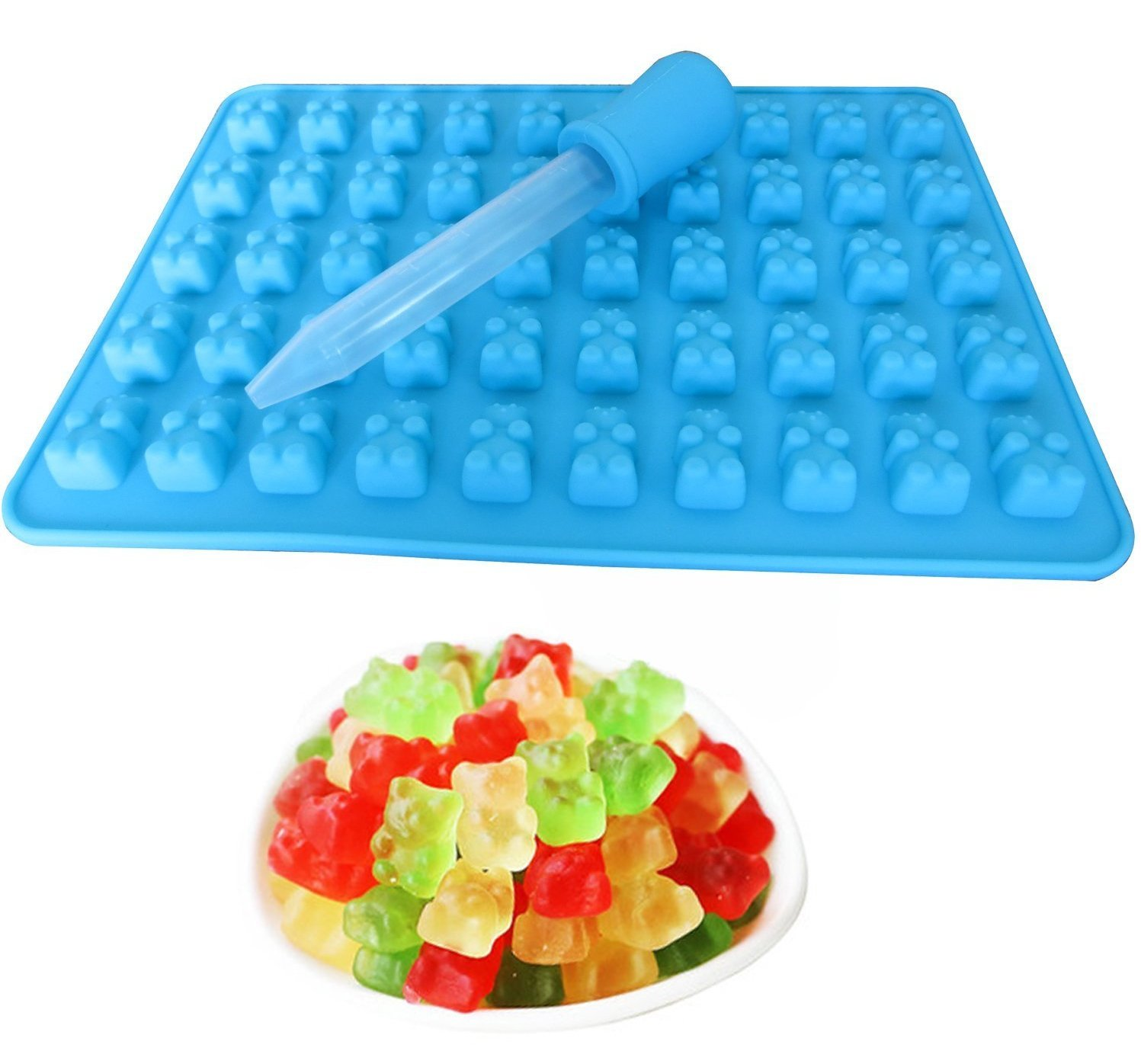 50 Mini Silicone Gummy Bear Sweet Moulds - 2 Pack + 2 droppers Awesome UK