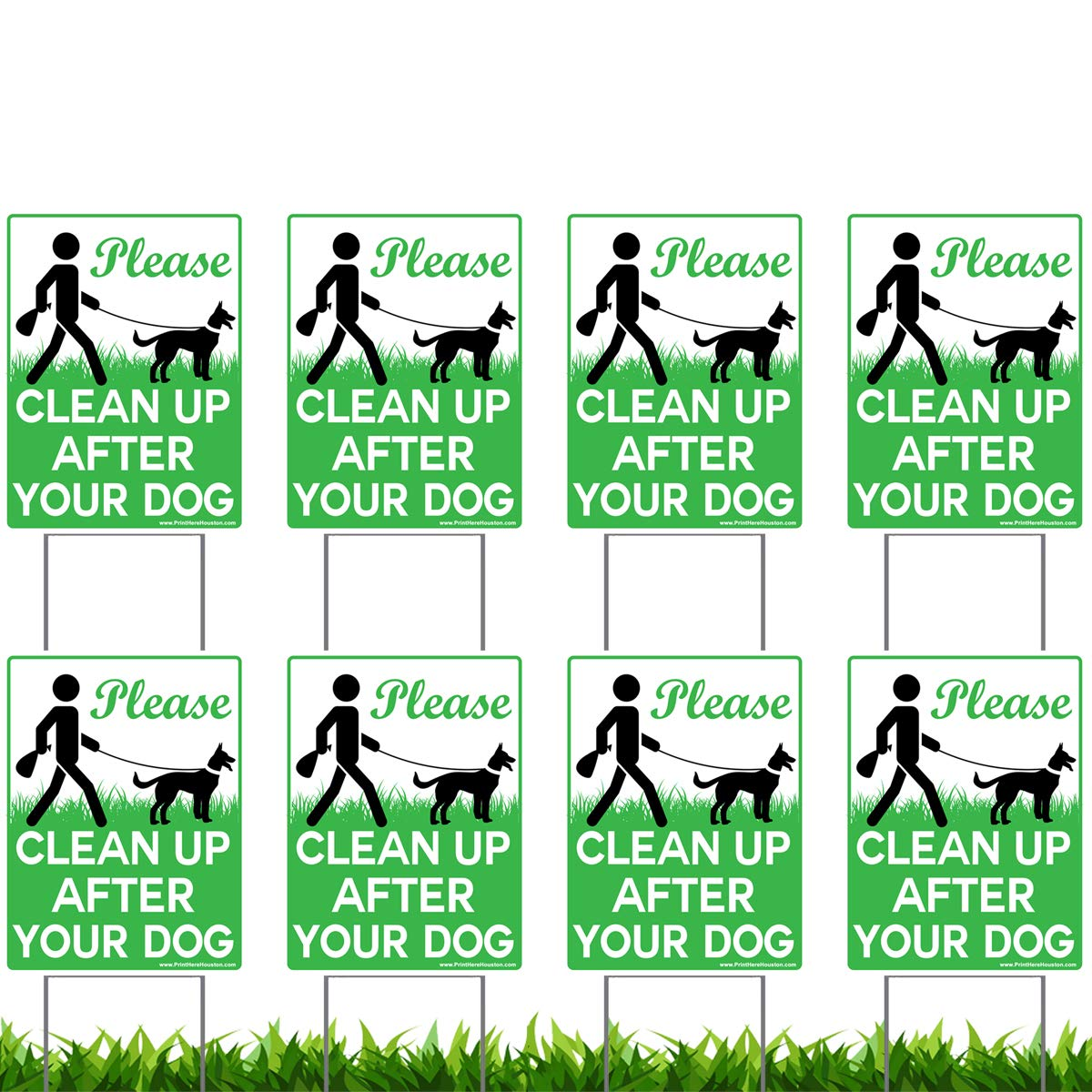 Vibe Ink 8 Pack of 9 x 12'' Please Clean Up After Your Dog - No Pooping Dog Lawn Signs with 8X Metal Wire H-Stakes Stands Included