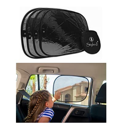 "Styles II Car Window Sun Shade (4 Pack) 19""x14"" Cling Sunshade for Car Windows - Sun, Glare and UV Rays - 80 GSM Maximum Protection for Your Child - Baby Side Window Car Shades: Baby"