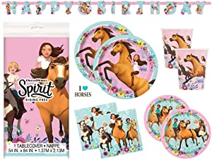 Spirit Riding Free Horse Birthday Party Supplies Set - Plates, Cups, Napkins, Tablecloth, Banner Decoration and Sticker