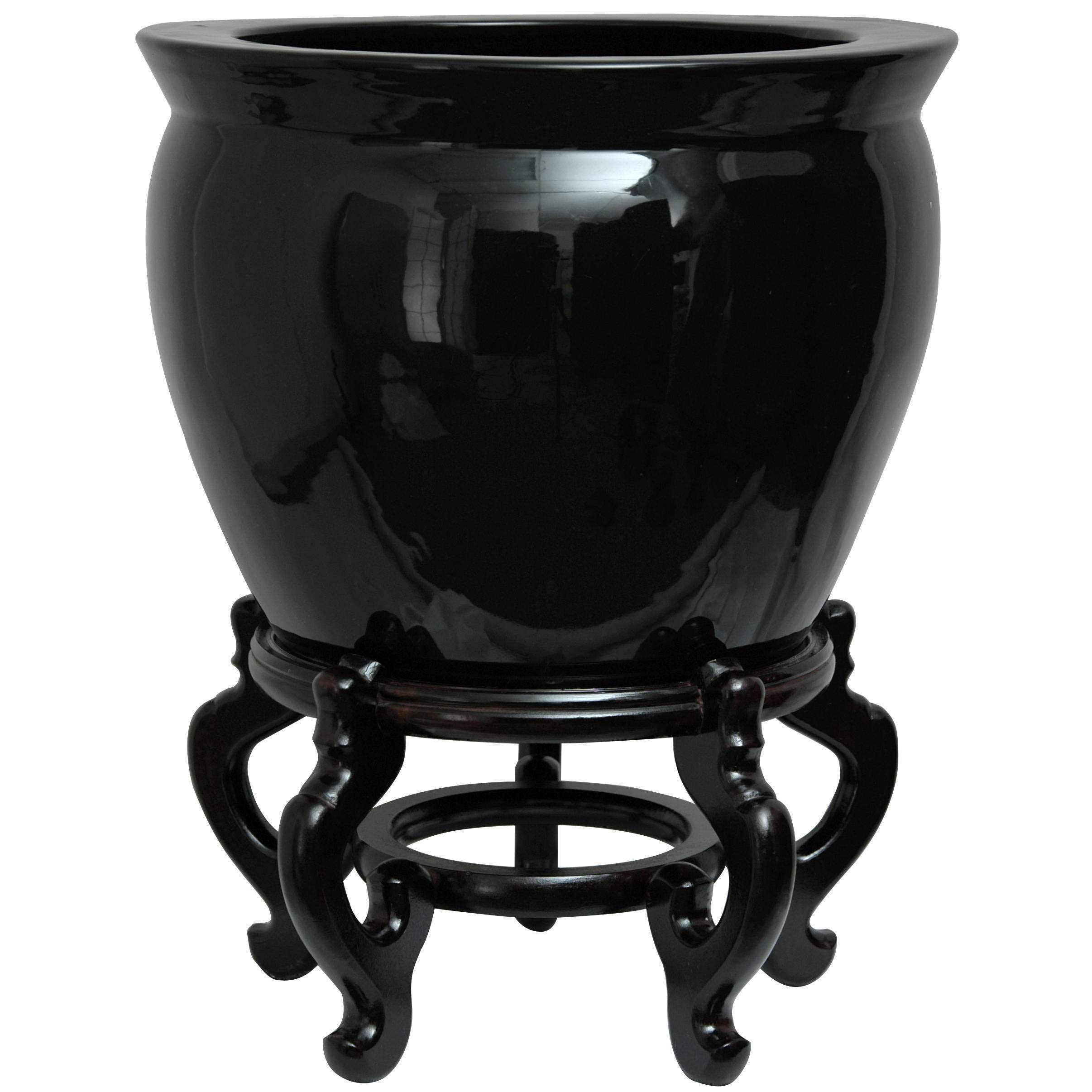 Handmade Porcelain 12-inch Solid Black Fishbowl (China) by Unknown