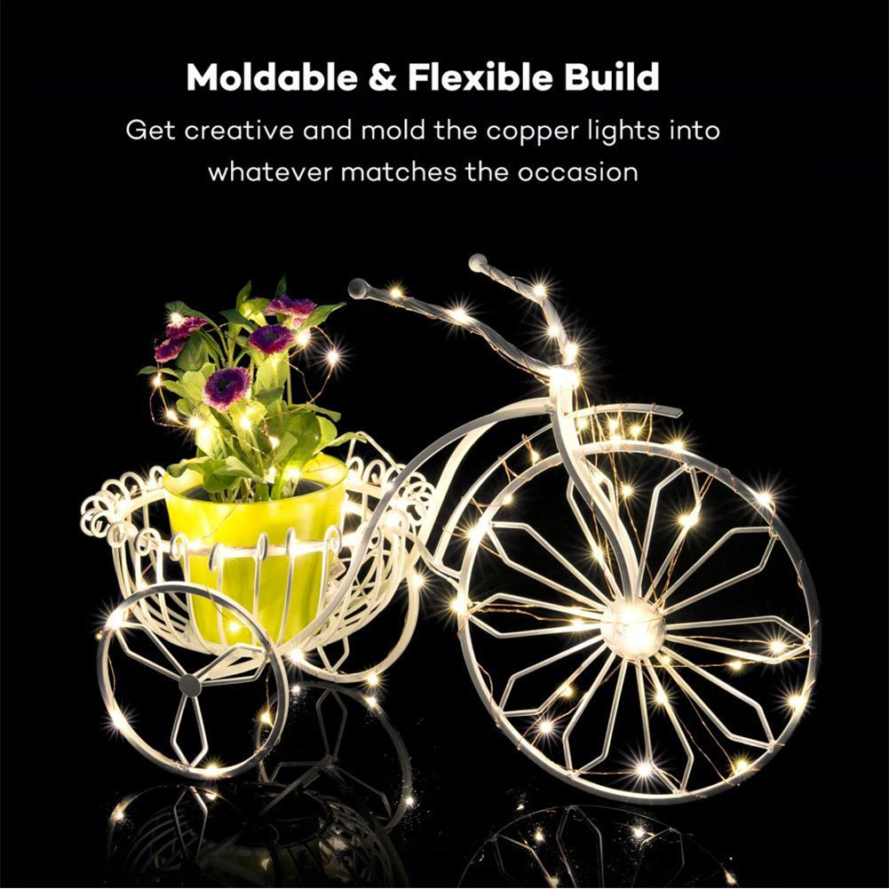 Wedding Party Warm White Garden Bello Luna Fairy Lights 200 LED Copper Wire String Lights 66ft 8 Modes Waterproof Battery Operated LED Starry Lights with Remote Control for Patio