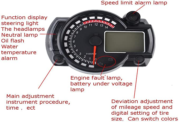 MagiDeal Motorcycle LED Digital Odometer Speedometer Tachometer Gauge Turn High Beam