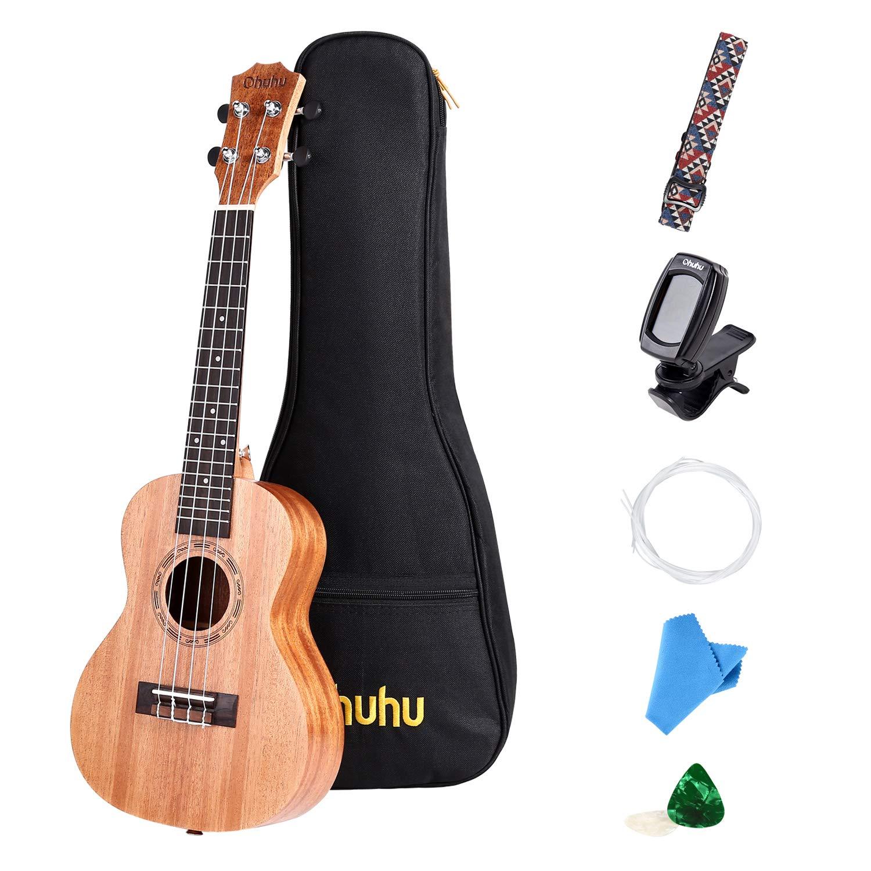 Concert Ukulele, Ohuhu 23 inch Mahogany Ukulele Concert Size Music Instruments for Uke Beginners, with Tuner, Ukulele Carrying Gig Bag, Ukulele Strap (Strap Pins Installed), Picks and Aquila Strings