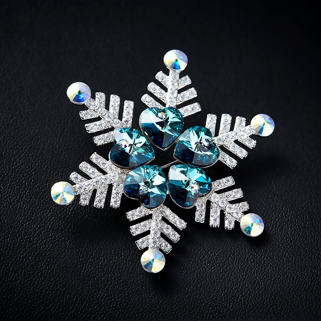 IUHA Christmas Snowflake Sparkling Brooch Made with Swarovski Crystals Party Holiday for Women Girls Gift by IUHA (Image #2)