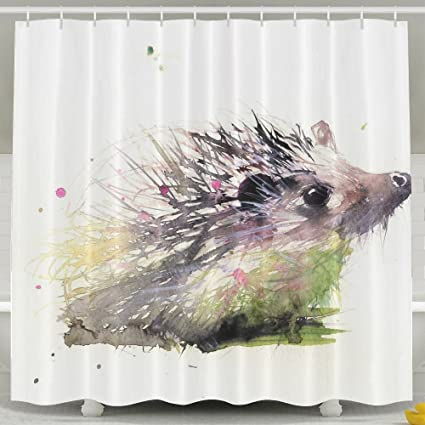 ZHYPMNU Zoe Diro 60 X 72 Inch Shower CurtainHedgehog Printed Polyester Waterproof Bath Curtain