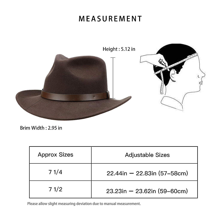 Jack/&Arrow Cowboy Hat Men Wool Felt Brown Western Outback Gambler Wide Brim Adjustable Sizes Crushable