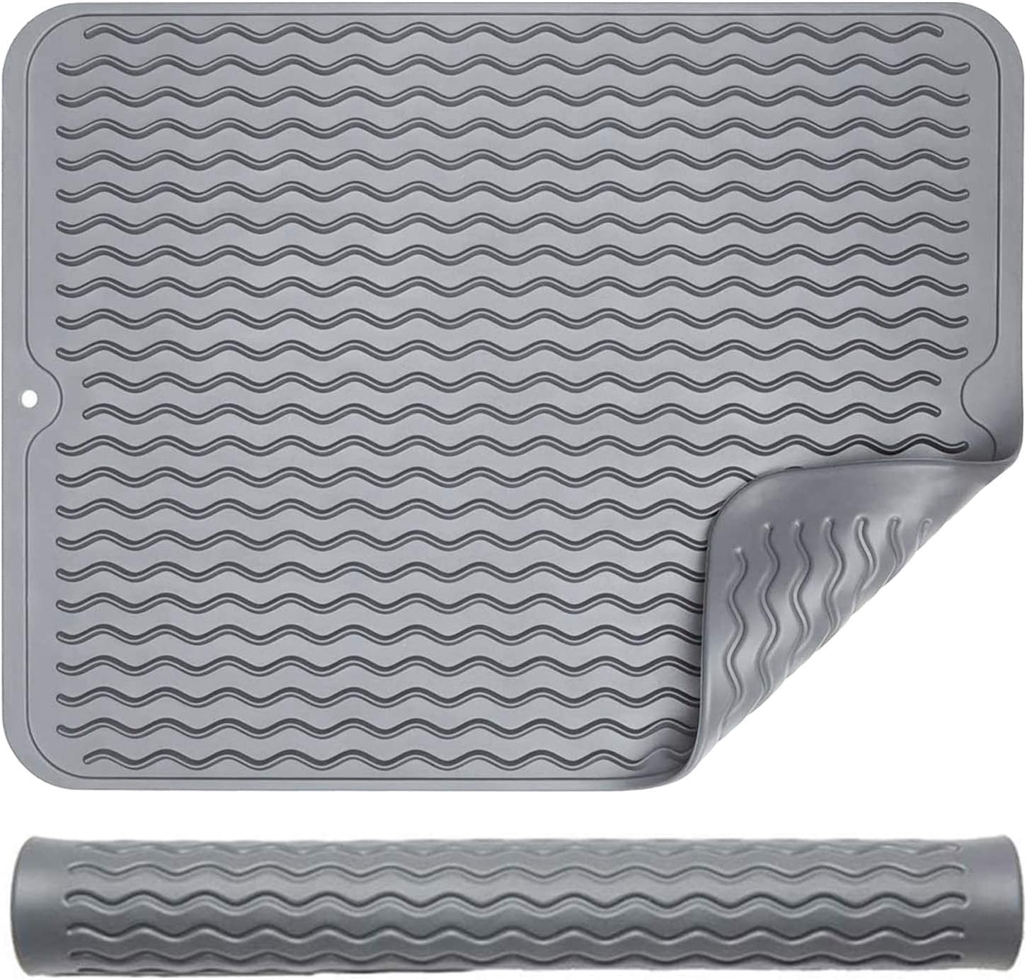 Silicone Dish Drying Mat for Kitchen Counter - Grey Sink Tableware Pad Dishes Drainer Non-Slip Waterproof Heat Resistant Dishwasher Safe Dish Draining Mat, Hot Pad, Durable, Easy Clean