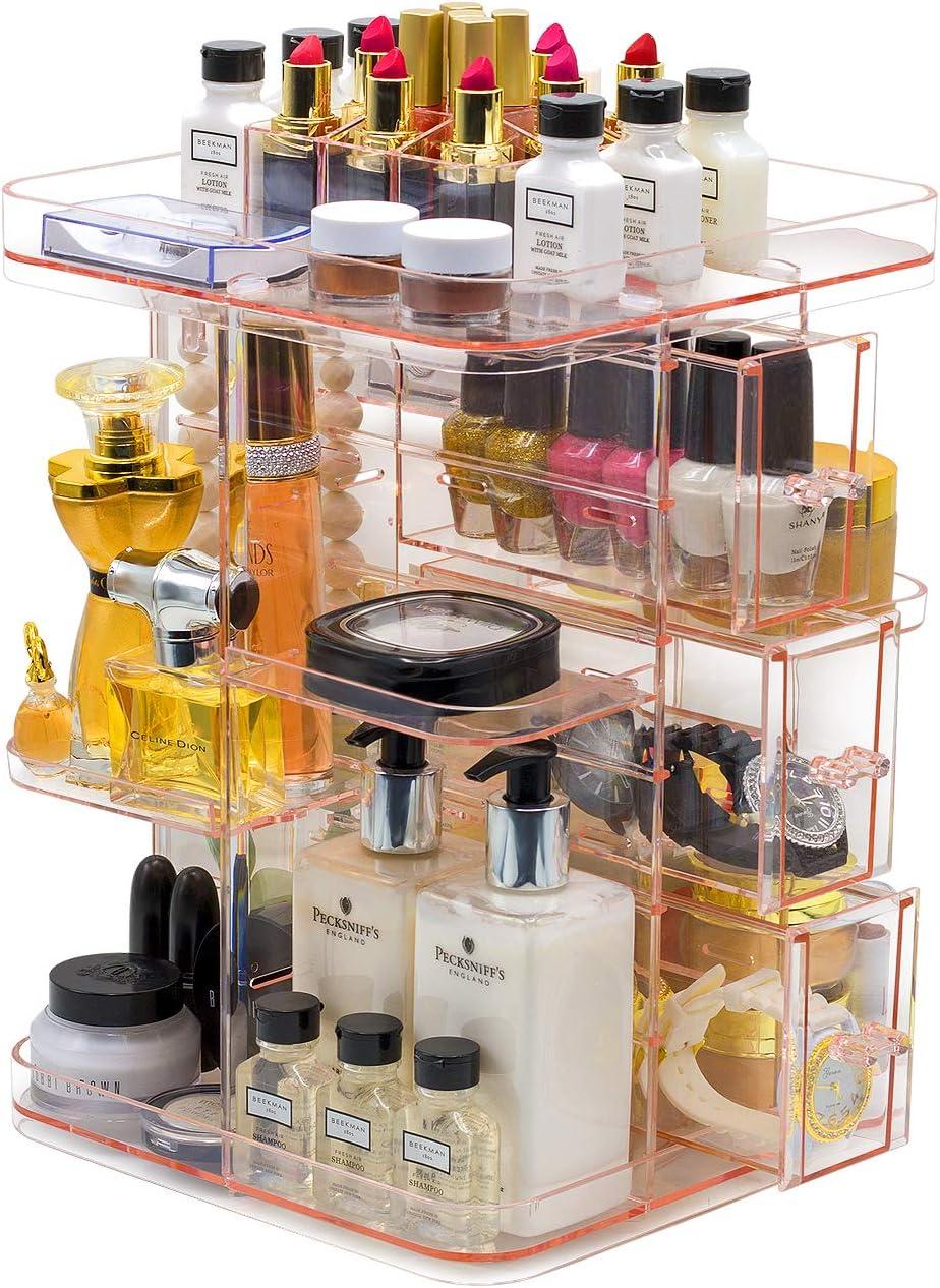 Sorbus Rotating Makeup Organizer, 360° Rotating Adjustable Carousel Storage for Cosmetics (Pink)