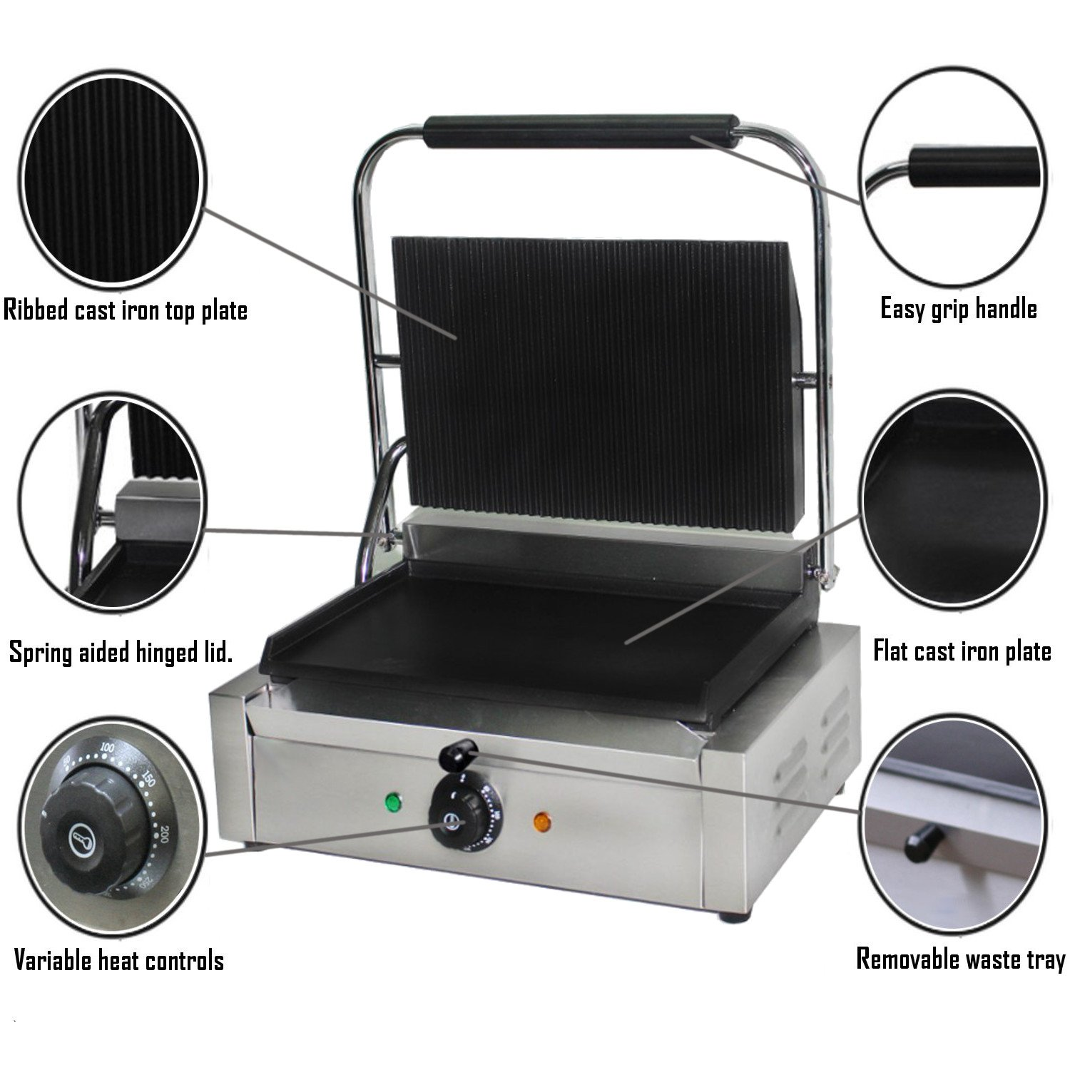 Contact Grill Sausages Power 2.2Kw Heavy Duty Top Ribbed And Flat Bottom Heating Plate. Electric Hotplate Burgers Toasties Chef-Hub Commercial Use Large Panini Grill Press Machine Sandwich Press