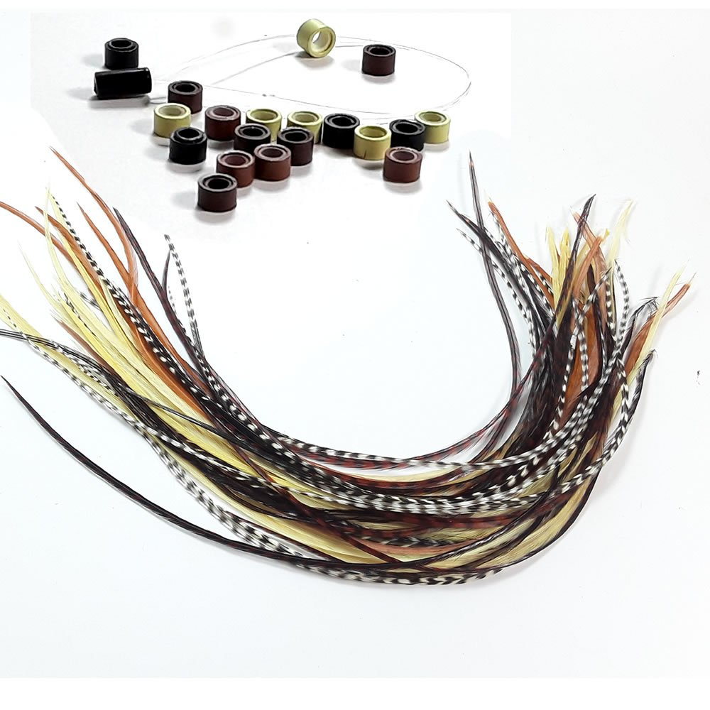 Feather Hair Extensions, 100% Real Rooster Feathers, Long Natural Colors, 20 Feathers with Bonus Micro Beads and Loop Tool Kit By Sexy Sparkles