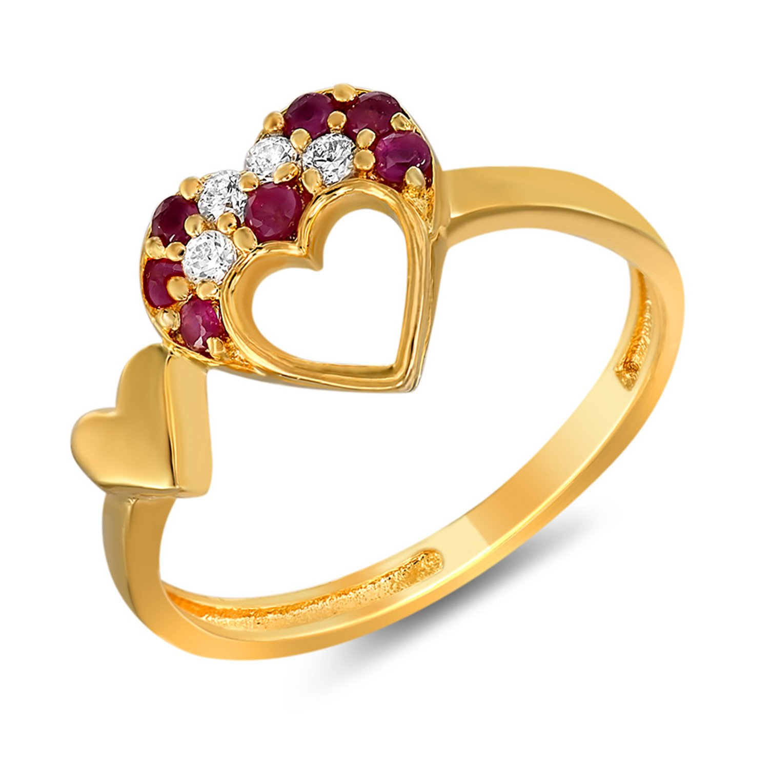 Buy Diwali Gifts - Mahi Ruby & CZ 24K Gold Plated Fashion Finger ...