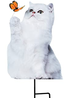 Yard Stake   Photo Realistic White Cat Metal Cutout For Yards, Planters,  Lawns
