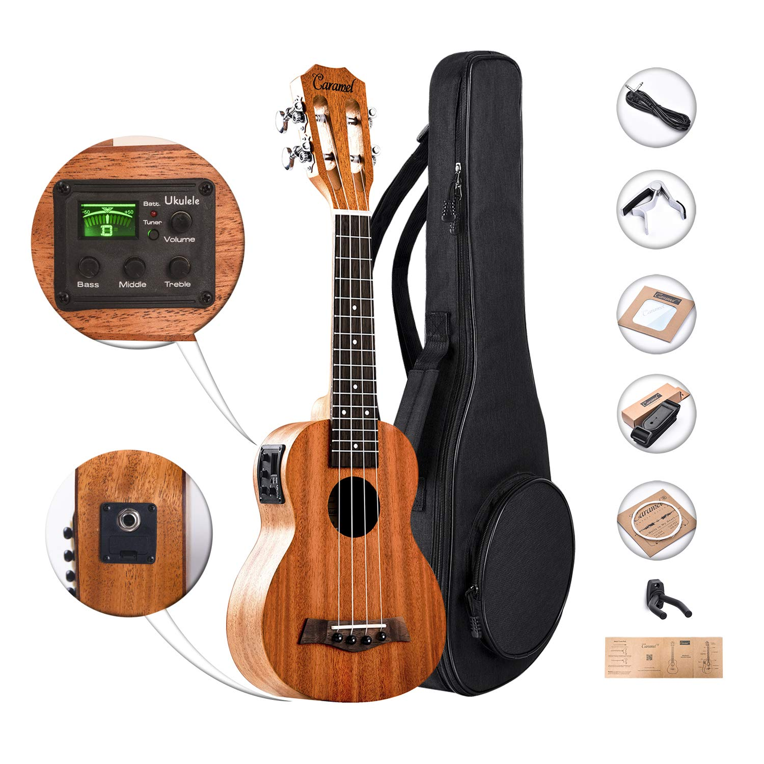 SolidMahoganyTopand Back-CaramelCS419SopranoAcousticElectricUkulelewith Aquila Strings, Padded Gig Bag, Strap and Picks