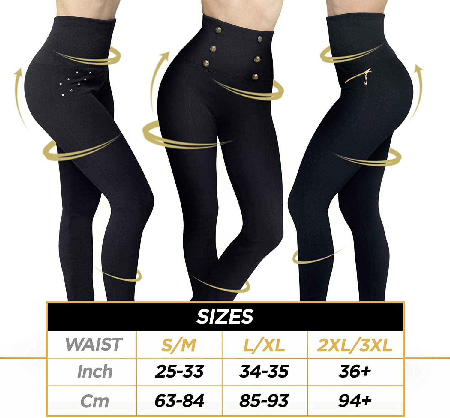 Hollywood Pants Leggings High Waisted Shaping Pants Comfort Of Leggings Power Of Shapewear 3 Fabulous Designs In Black At Amazon Women S Clothing Store