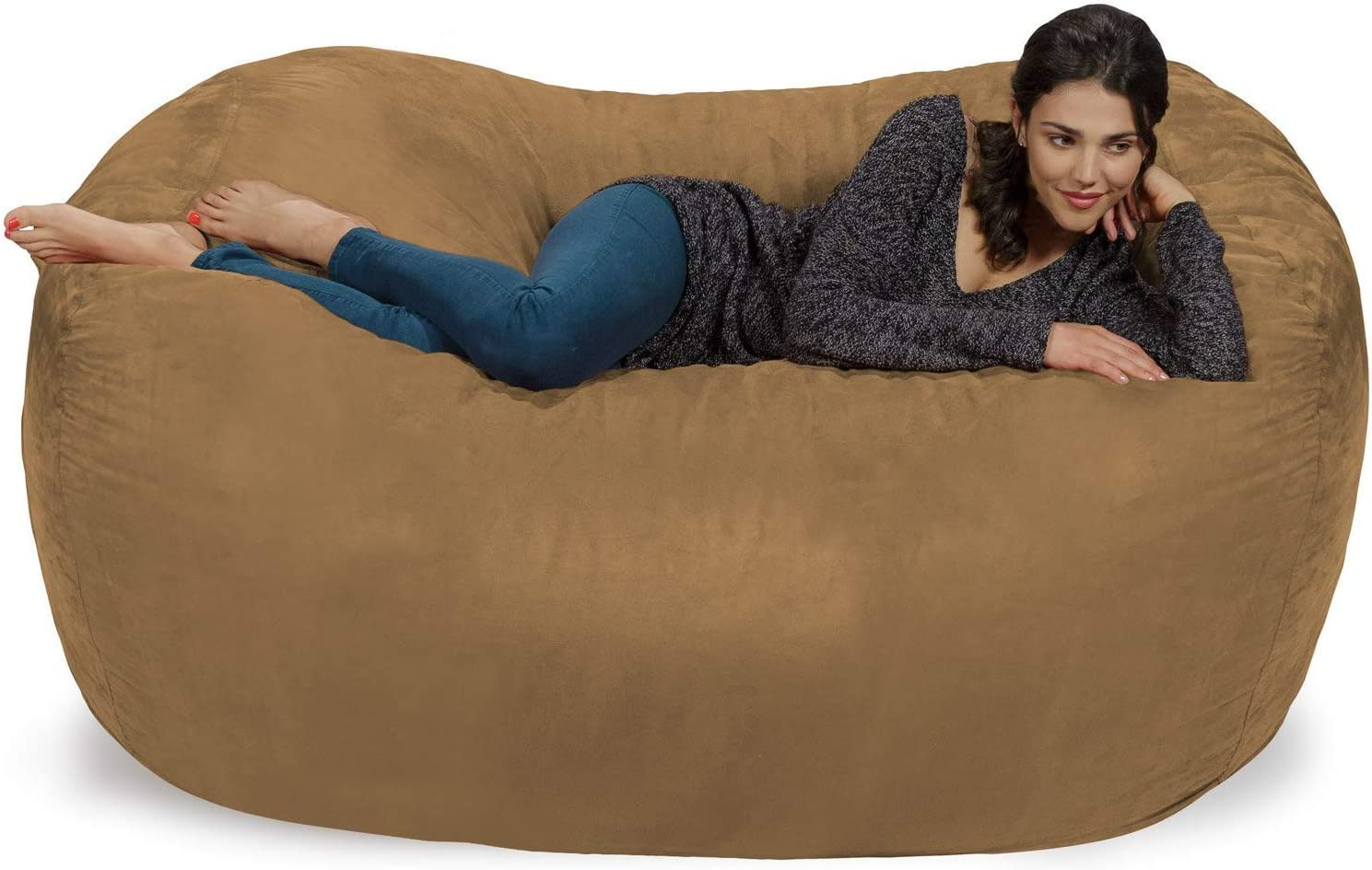 Ink Craft Bean Bag Chair Cover Only, Large Washable Furniture Bean Bag Cove, Without Bean Filling 6 Foot (tan)