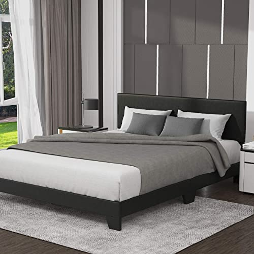 Allewie King Size Upholstered Platform Bed Frame