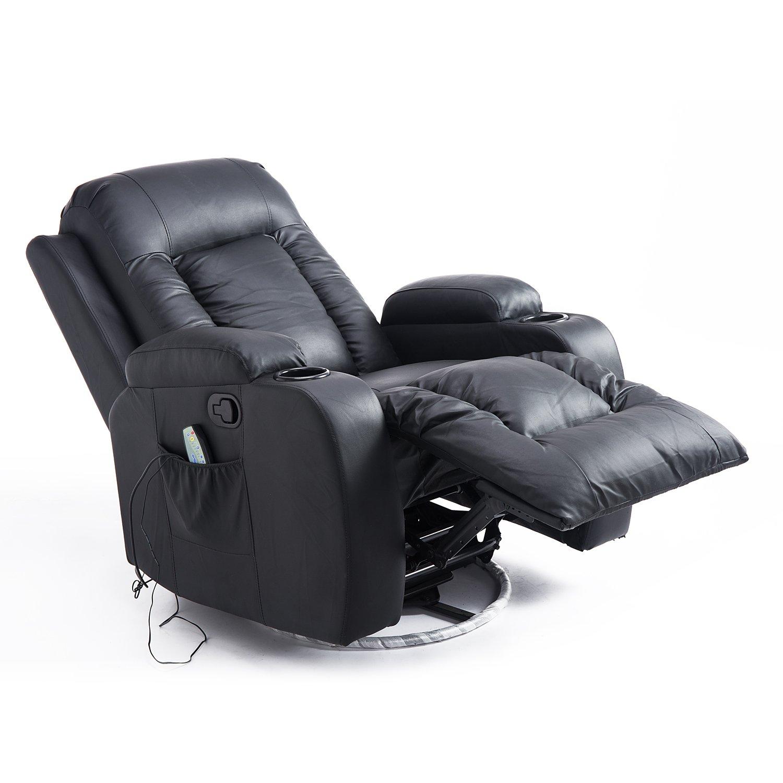 Amazon.com: Homcom PU Leather Heated Vibrating Massage Swivel Recliner Arm  Chair With Remote   Black: Home U0026 Kitchen