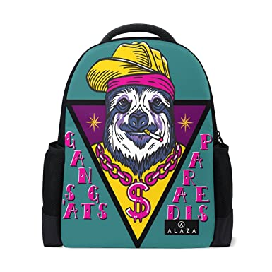 ce28c3f6531 Amazon.com  ALAZA Hipster Gangsta Sloth Polyester Backpack School ...