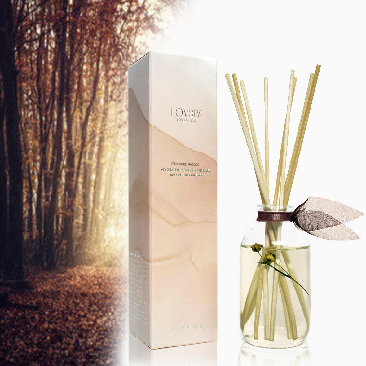 LOVSPA Cashmere Woods Reed Diffuser | Precious Woods & Sensual Amber are Blended with Soft Mimosa, Vanilla Musk, Apricot Nectar and Juicy Berry