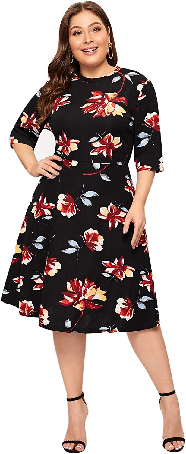 Romwe Women's Plus Size Elegant Floral Print Fit and Flare A Line Midi Dress