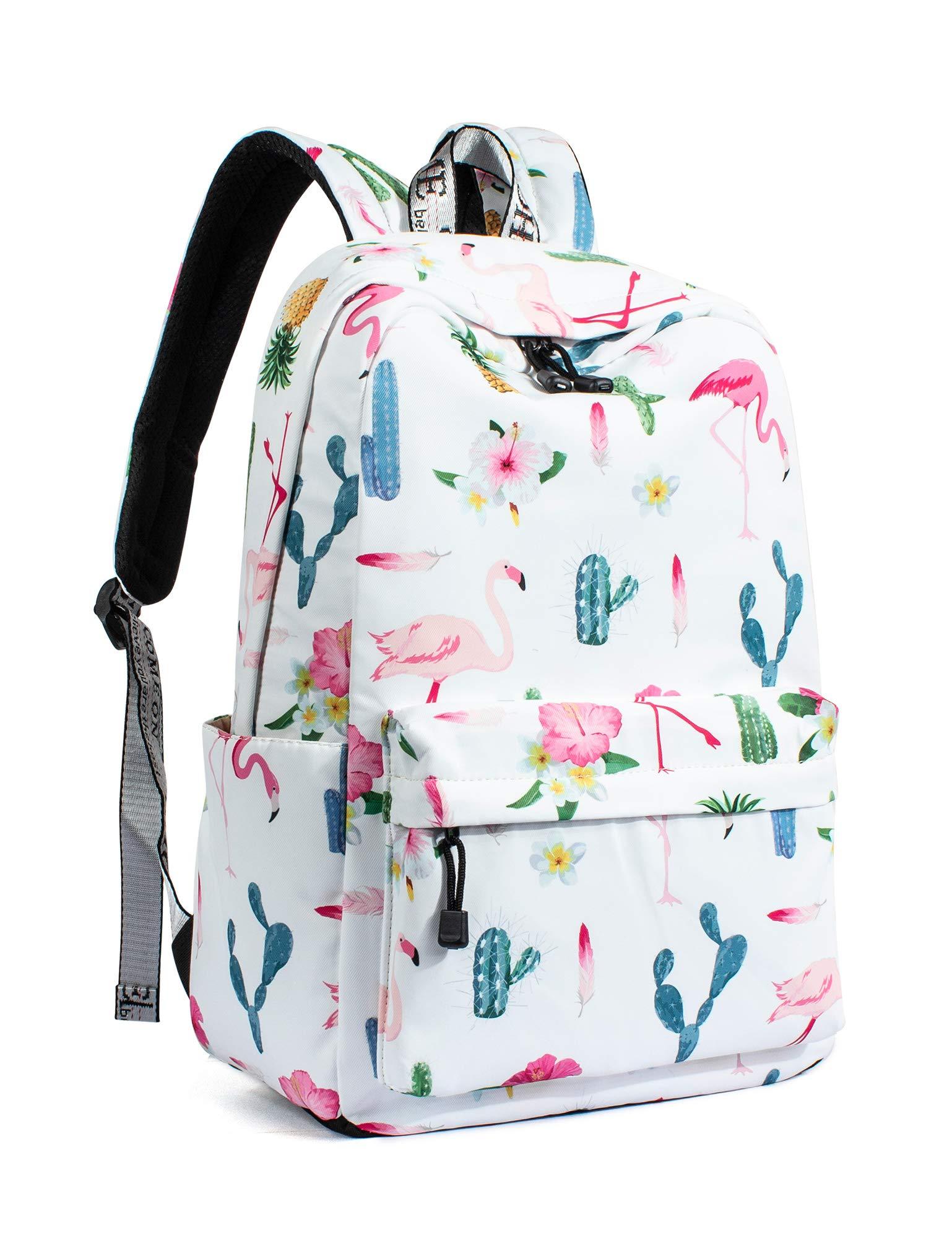 Leaper Cute Flamingo School Backpack Girls Travel Bag Laptop Bag White [9110]