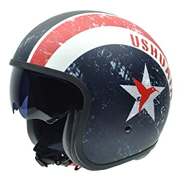 NZI 050314G314 Rolling New York by Ushuaïa Casco de Moto, Color Azul, Blanco y