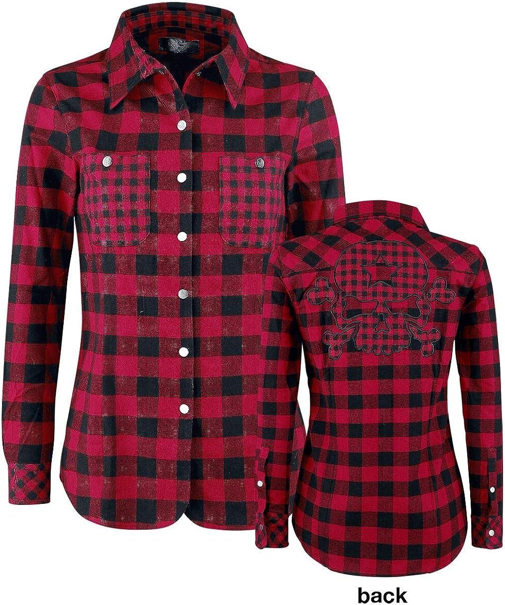 Rock Rebel by EMP - Camisas - para Mujer Rojo y Negro XL: Amazon.es: Ropa y accesorios