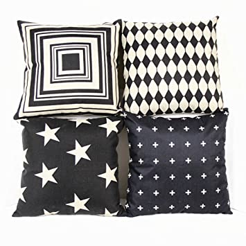 Incredible Monkeysell Couch Pillows Set Of 4 Black And Beige Stripe Vintage Style Cotton Linen Sofa Home Decor Design Throw Pillow Case Cushion Covers Square Ocoug Best Dining Table And Chair Ideas Images Ocougorg