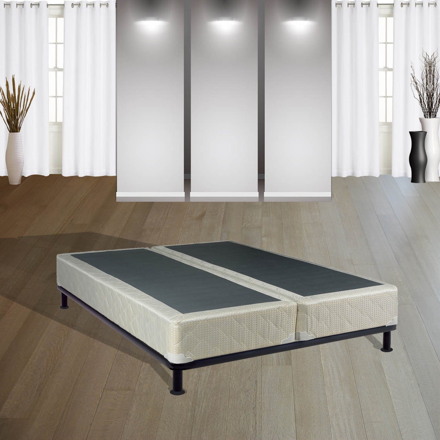 Mattress Solution, 4'' Assembled Box Spring for Mattress, Twin Size, Sun Collection
