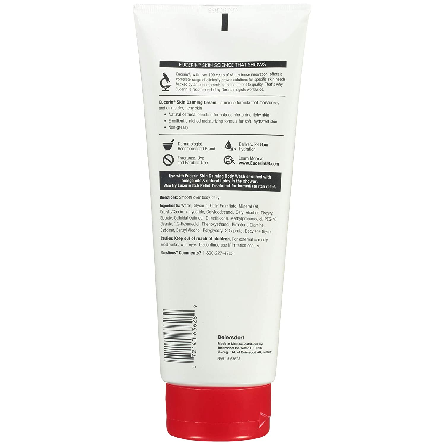 Eucerin Skin Calming Cream - Full Body Lotion for Dry, Itchy Skin, Natural Oatmeal Enriched - 14 oz. Tube : Body Gels And Creams : Beauty